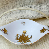 Japanese style porcelain dish with gold floral design // vintage candy dish // 60's serving dish