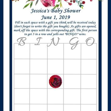 Navy Blue and Red Roses Bingo Cards