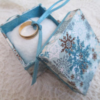 Ring Bearer Box- Winter Wedding - Blue- Brown- Personalized Keepsake - Engagement Pillow- Memory Box - Handmade