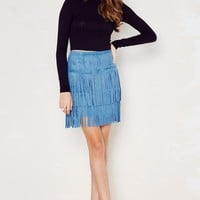 Mojave Faux Suede Fringe Skirt