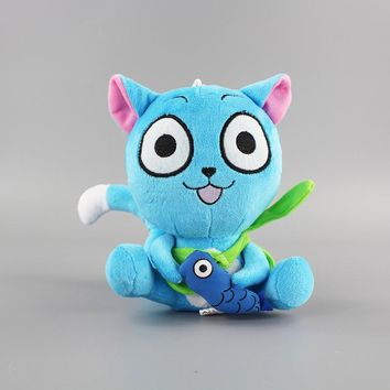 18cm Small New Anime Fairy Tail Blue Happy Cat Cute Plush Toy Stuffed Doll great Birthday Gift