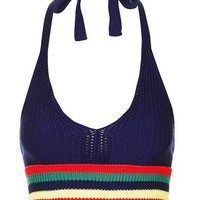 HDY Haoduoyi Sexy Slim Stripe Tanks Top Female Backless Off Shoulder Halter Cropped Top Winter Vintage Vest For Women