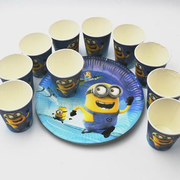 20pcs/set Minions Plate/Cup  Kids  Birthday Decoration Festival Party Supplies For Boys Or Girls Cartoon Theme Party Supply