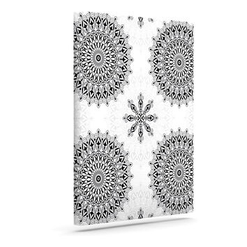 "Julia Grifol ""Black Mandala"" White Black Canvas Art"
