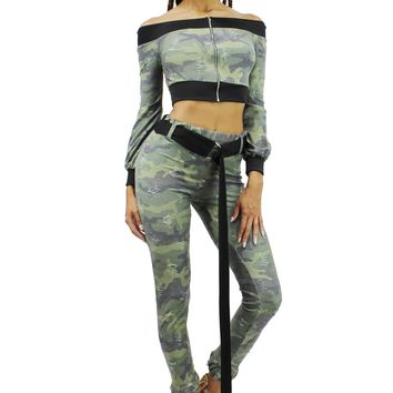 Camo Off Shoulder Zip Up Top and Long Belted High Waist Skinny Pants Set