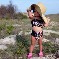 Black Tribal Print Bow Top & Retro Style High Waist Bikini! Children Swimwear!