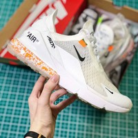 Off White X Nike Air Max 270 Cushion White Sport Running Shoes - Best Online Sale