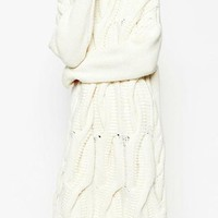 Sweater Dress - All White / Heavy Cable Knit