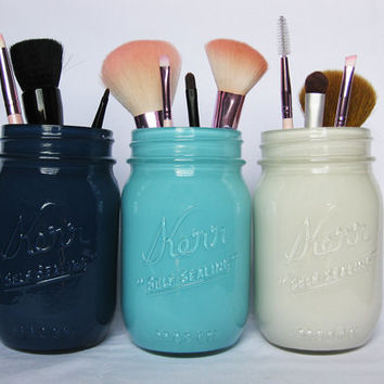 Blue Mason Jar Makeup Brush Holders