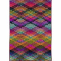 Oriental Weavers Transitional Colorful Pink Polypropylene Geometric Machine-Woven Area Rug