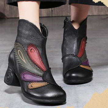 Women Fashion Retro Handmade Plume Pattern Zipper Ankle Leather Boots