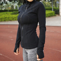 Women Student Girl Sports Yoga Running  Zipper Jacket Fitness Tracksuits Training Coat Long Sleeve Sweatshirts