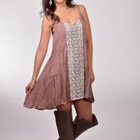 Entro Mocha Tiered Spaghetti-Strap Dress with Lace Detail