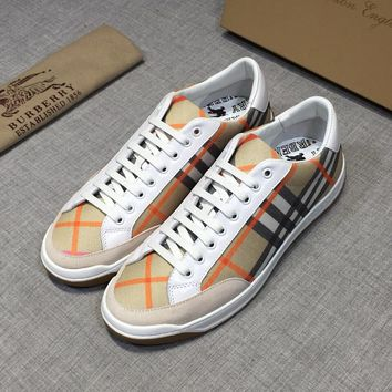 Burberry Men House Check Leather Low-Top Sneakers - Best Deal Online