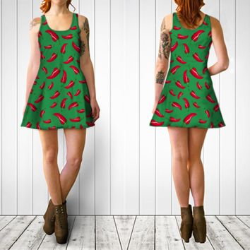 Green red chili peppers dress Flare dress