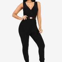 Black Surplice Jumpsuit With Gold Belt