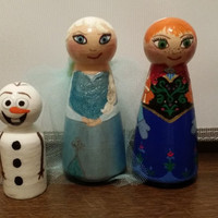 Handpainted wooden peg doll , Large set of 3 characters