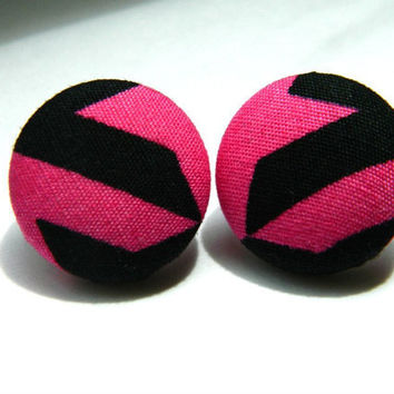 Button Earrings Hot Pink- Black 80's Nickel Free