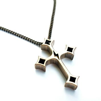 FAITH Death Before Life Cross Necklace - Bronze