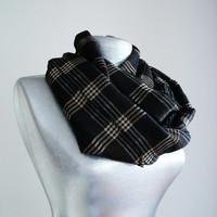 Handmade Tartan Infinity Scarf - Wool - Brown Beige Black - Winter Autumn Scarf - Men Unisex Scarf