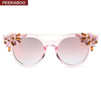 Peekaboo Luxury fashion rhinestone cat eye sunglasses women designer transparent frame ladies reflective sunglasses gafas de sol