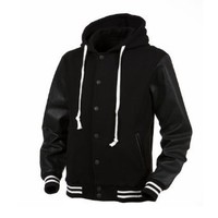 Angel Cola Black & Black Hoodie Varsity Cotton & Synthetic Leather Baseball Letterman Jacket (Large)