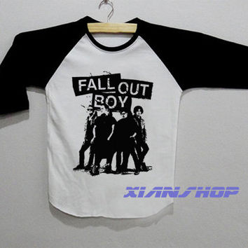 FOB Fall Out Boy Logo Save Rock Shirt Baseball Raglan T Shirt White Tee Shirt Unisex Size S M L - XD02