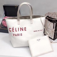 CÉLINE New Popular Women Leather Satchel Handbag Shoulder Bag Two Piece Set White/Red I-WXZ2H