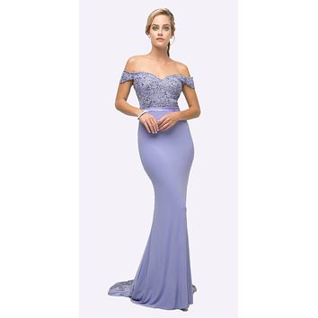 Off the Shoulder Long Lavender Gown Mermaid Lace Bodice