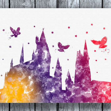 Hogwarts Starry Night Harry Potter Watercolor Art Print Instant Download
