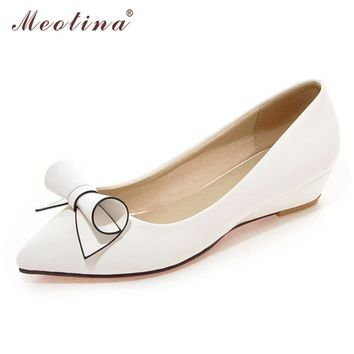 Meotina Shoes Women Bow Low Heels Ladies Wedge Heels Bridal Sho 3c933fb607d3