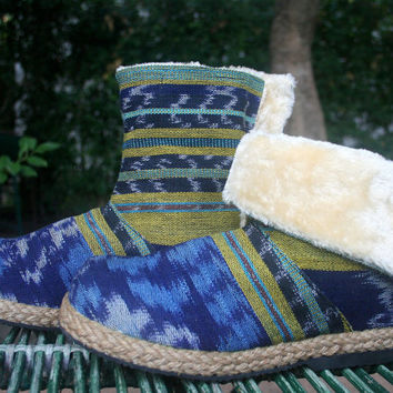 Womens Ankle Boots In Blue Javanese Ikat Plush Lining Fold over Cuff House Shoes Slippers - Naya