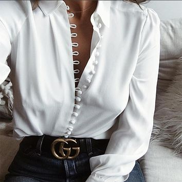 Lapel Collar Buttons Slim Pure Color Long Sleeves Blouse