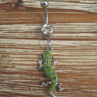 Belly Button Ring - Body Jewelry - Green Rhinestone Lizard with Clear Gem Stone Belly Button Ring
