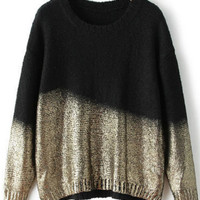 Black and Gold Round Neckline Sweater