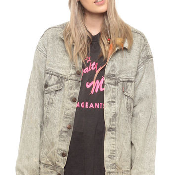 Grey Denim Jacket 80s Levi Jean ACID WASH Levis Oversized Faded Oversize 1980s Vintage Button Up Hipster Men Women Extra Small Medium xs