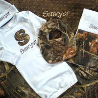 Baby Boy Gift Set - Personalized Layette Gown, Hat, Bib, Burp Cloth and Blanket - RealTree MAX-4 HD Camo -  Free Shipping