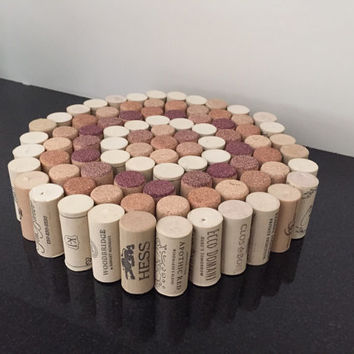 Wine cork trivet, large trivet, wine cork decor,