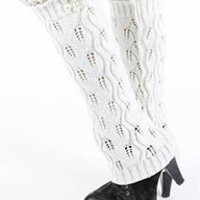 Hana Pearl Lace Accent Knit Leg Warmers in Ivory