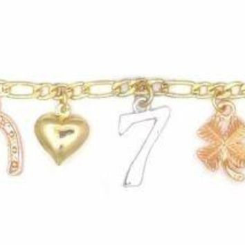 14k Gold Plated 3 Color Good Luck Charms Figaro Chain Bracelet - Anklet 9.5""