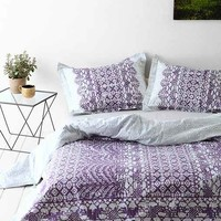 Plum & Bow Sophie Lace Duvet Cover- Lavender Full/queen- Lavender Full/queen