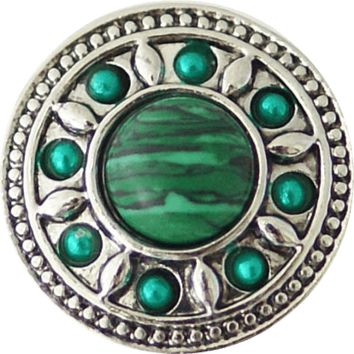 "Chunk Snap Charm Green Center with Green Stones Border 20 mm 3/4"" Diameter"