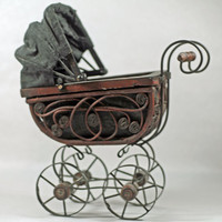 Vintage - Antique Miniature Baby Buggy - Circa 1960s - Decor for Little Girls' Room - Baby Shower Centerpiece -  Home Decorating - Not a Toy