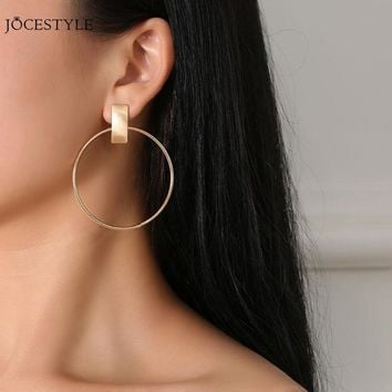 Fashion Alloy Round Hoop Earring Women Circle Dangle Ear Stud Frosted Drop Hoop Gold Sliver Plated Earrings Jewelry