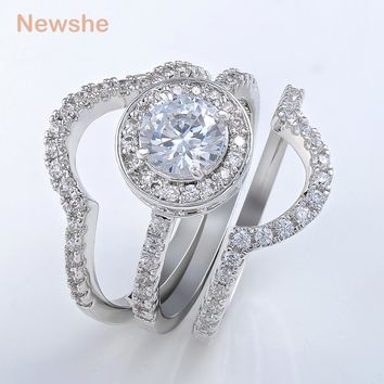 Newshe 2 Carats Silver Plated Triple Wedding Ring Set Engagement Band AAA CZ Classic Jewelry For Women