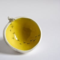 ceramic trinket dish white and yellow TWEET BOWL small by karoArt