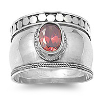 925 Sterling Silver CZ Bali Simulated Garnet Ring 9MM