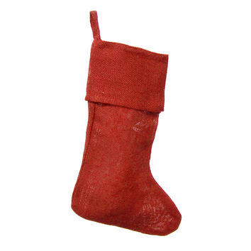 Burlap Red Christmas Stockings, 16-inch, 6-pack
