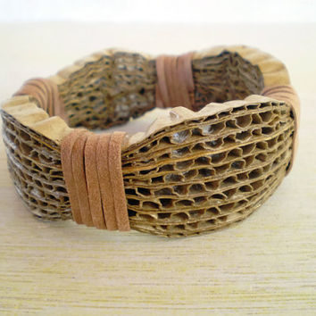 Cardboard Bracelet Recycled Paper Jewelry Bangle Bracelet Eco Friendly Ready to Ship / Χειροπέδα από Χαρτόκουτα
