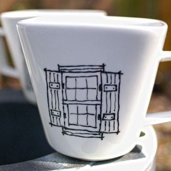 hand drawn porcelain mugs new orleans windows and by wandersketch